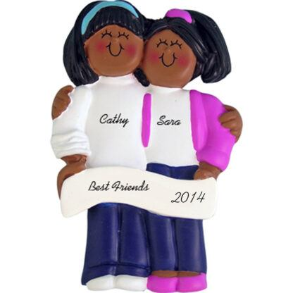 Friends/Sisters: Both Ethnic Personalized christmas Ornament
