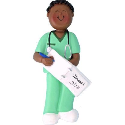 Nurse in Scrubs: Male Personalized christmas Ornament