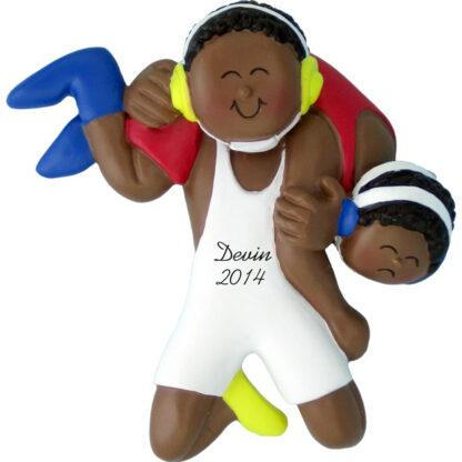 Wrestling: Male Personalized christmas Ornament