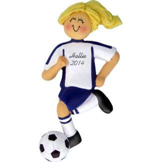 Soccer Dribbling Blue Uniform Blonde Female Personalized christmas Ornament