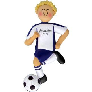 Soccer Dribbling Blonde Male in Blue Uniform Personalized christmas Ornament