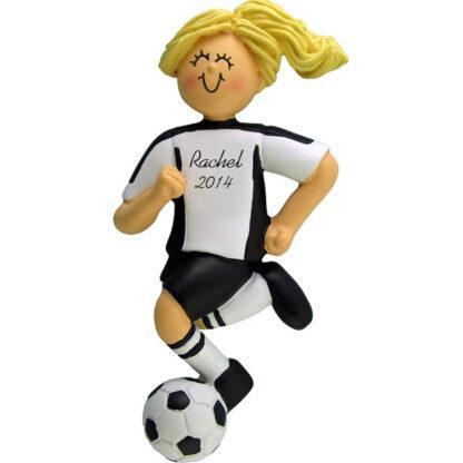 Soccer Dribbling Blonde Female in White Uniform Personalized christmas Ornament