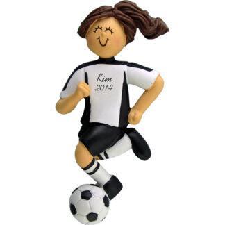 Soccer Dribbling Brunette Female in White Uniform Personalized christmas Ornament
