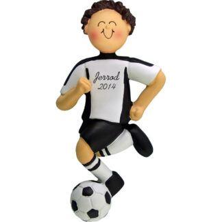 Soccer Dribbling Brunette Male in White Uniform Personalized christmas Ornament