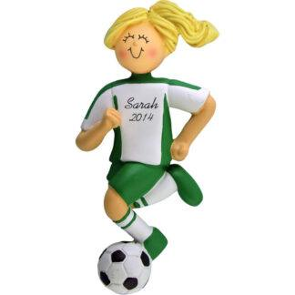 Soccer Dribbling Blonde Female Personalized christmas Ornament