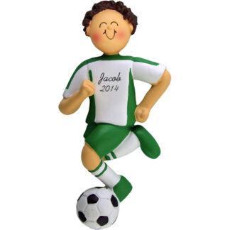 Soccer Dribbling Brunette Boy in Green Uniform Personalized christmas Ornament