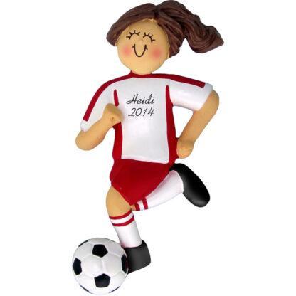 Soccer Dribbling Brunette Female in Red Uniform Personalized christmas Ornament