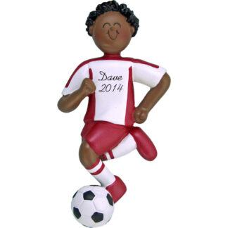 Soccer Dribbling Male in Red Uniform Personalized christmas Ornament