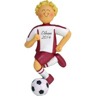 soccer dribbling boy in red uniform with blonde hair personalized christmas ornament