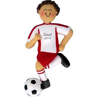 Soccer Dribbling Brunette Male in Red Uniform Personalized christmas Ornament