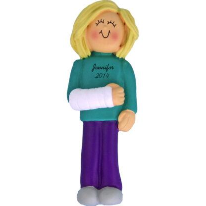 Cast on Arm: Blonde Female Personalized christmas Ornament