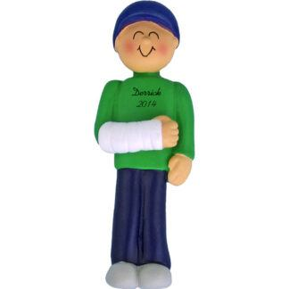 Cast on Arm: Male Personalized Christmas christmas Ornament