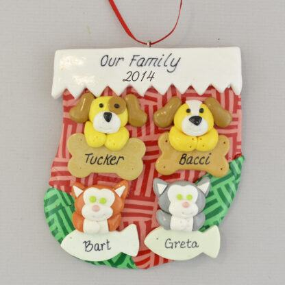 Holiday stocking with four pets personalized christmas ornament