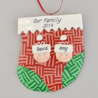 Two people on holiday stocking personalized christmas ornament