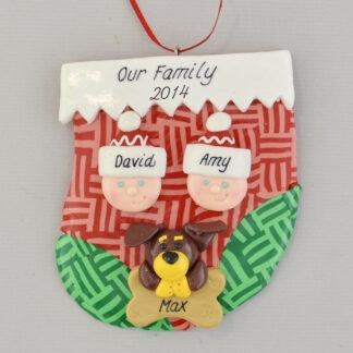 Two people and one pet in stocking personalized christmas ornament