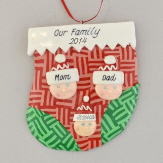 family of three stocking personalized christmas ornament