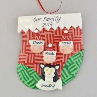 family of three with one pet personalized christmas ornament