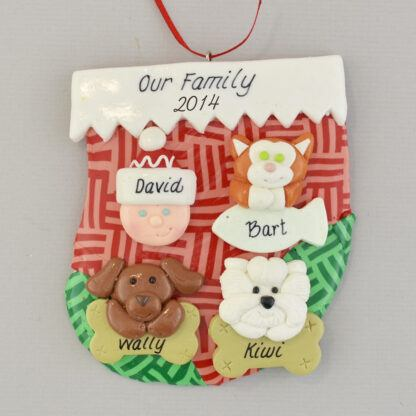 holiday stocking with one person and three pets personalized christmas ornament