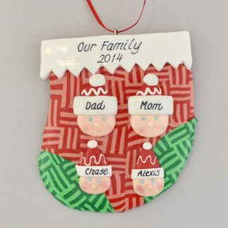 family of four personalized christmas ornament