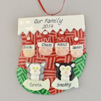 family of 4 plus pets personalized family christmas ornament