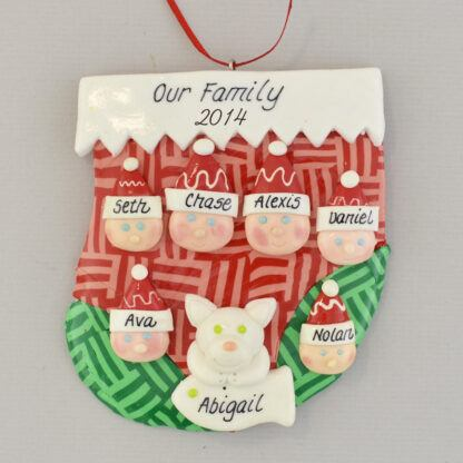 familiy of six stocking personalized christmas ornament