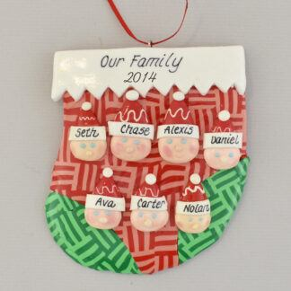 family of seven in stocking personalized christmas ornament