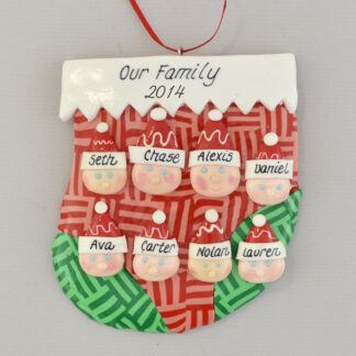 family of eight in a stocking personalized christmas ornament