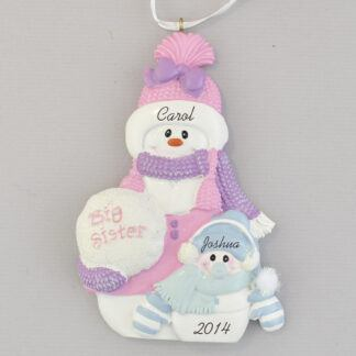 sister with little brother snow people personalized christmas ornament