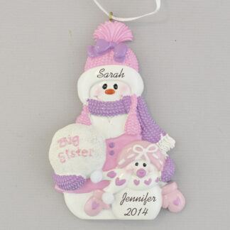 sister with little sister snow people personalized christmas ornament
