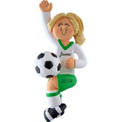 Soccer Player Girl Blonde in Green Uniform Personalized christmas Ornament