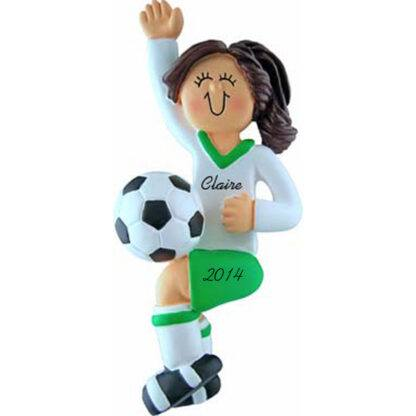 Soccer Player Girl Brunette Hair in Green Uniform Personalized christmas Ornament