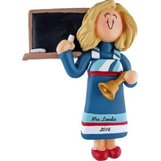 teacher blonde woman personalized christmas ornament