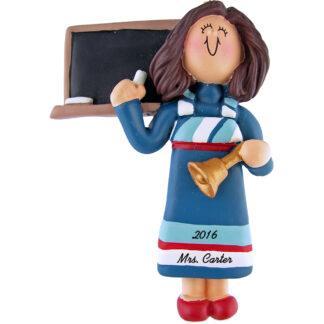 teacher woman blue dress personalized christmas ornament