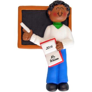 male teacher african american personalized christmas ornament
