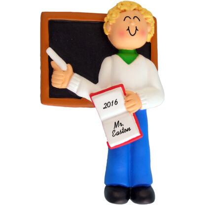 teacher male blonde personalized christmas ornament