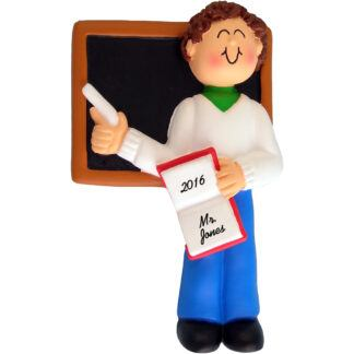 teacher male brunette personalized christmas ornament