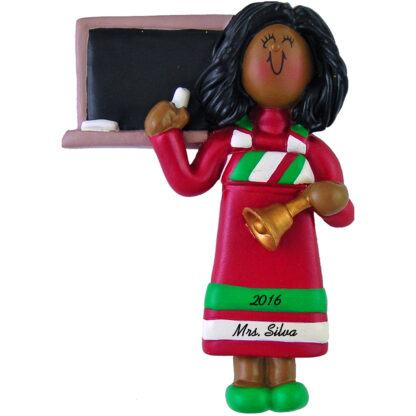 teacher african american woman personalized christmas ornament