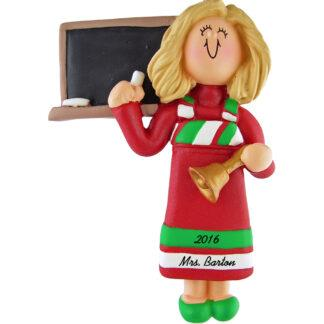 teacher blonde woman red dress personalized christmas ornament
