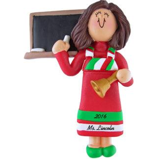 teacher female red dress personalized christmas ornament