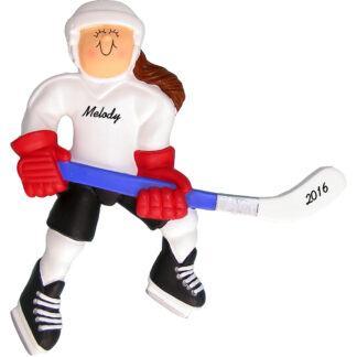 girl ice hockey brunette personalized christmas ornament