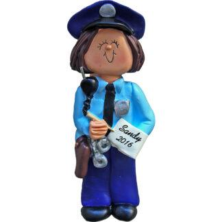 police female brunette personalized christmas ornament