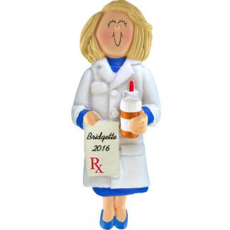 pharmacists female blonde personalized christmas ornament