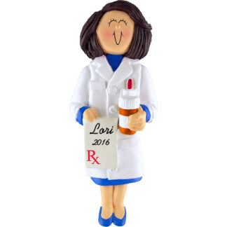 pharmacist female personalized christmas ornament