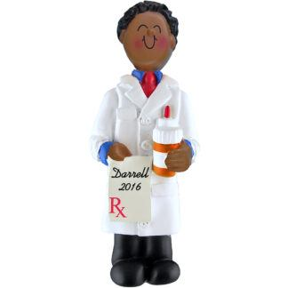 pharmacists male african american personalized christmas ornament