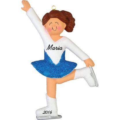 girl ice skater personalized christmas ornament brunette