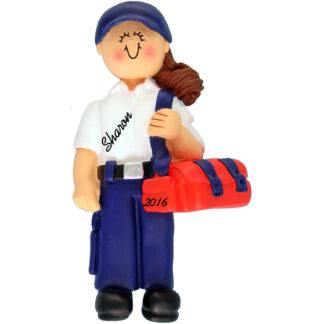 EMT female brunette personalized christmas ornament