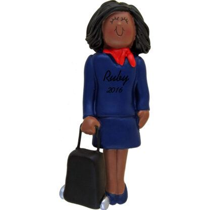 stewardess african american personalized christmas ornament