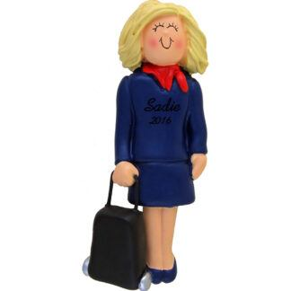 stewardess blonde personalized christmas ornament