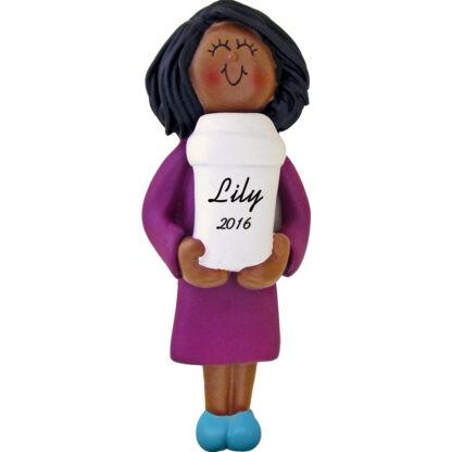 coffee drinker woman african american personalized christmas ornament