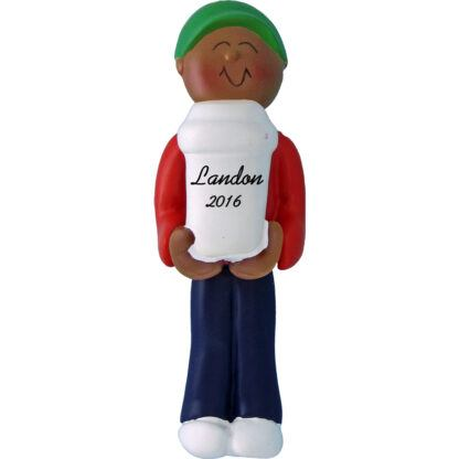 coffee drinder male african american personalized christmas ornament